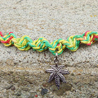 Rasta Ganja Love Hemp Bracelet shipping included