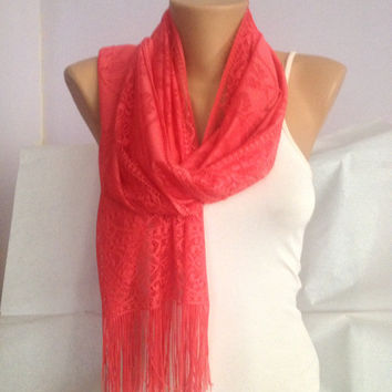 Coral Scarf Shawl - Wedding Shawl - Long Scarf - Bridesmaid Scarf Gift Accessories