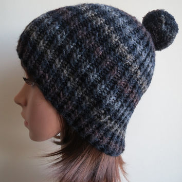 Hand-knit, Chunky and Textured Unisex Twisted Rib Beanie Hat with Pompom in Striped Shades of Blue, Grey and Brown.