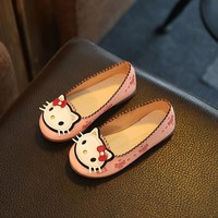 Size 26-36 New 2016 Kids Girls Sneakers Shoes Cartoon Cat Rabbit Pu Leather Flats Shoes For Children Girls Shoes CSH202
