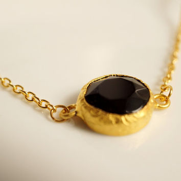 Small black jade necklace gold plated chain