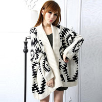 Loose Geometry Pattern Long Sleeve Knitting Wool Cardigan