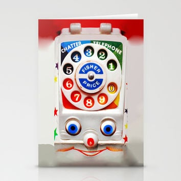 Retro Vintage smiley kids Toys Dial Phone iPhone 4 4s 5 5s 5c, ipod, ipad, pillow case and tshirt Stationery Cards by Three Second