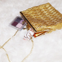 Gold beaded detailed evening purse with gold chain shoulder strap (small) with gold lined interior