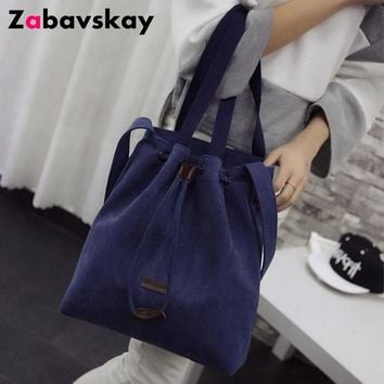 2018 Casual Women Shoulder Bags Canvas Bucket Bags Travel Beach Bags Famous Brand Ladies Tote Purse Women Shopping Bags  DJZ189