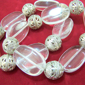 Pair Joan Rivers Stretch Clear Lucite Bead Bracelets,  Silver Tone Filigree Beads, Arm Party, Vintage Jewelry, Costume Jewellery  417