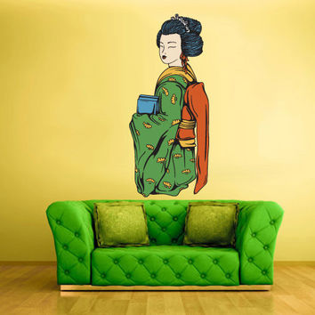 Full Color Wall Decal Mural Sticker Art Geisha Asian Japan Japanese Girl Woman Dress (col181)
