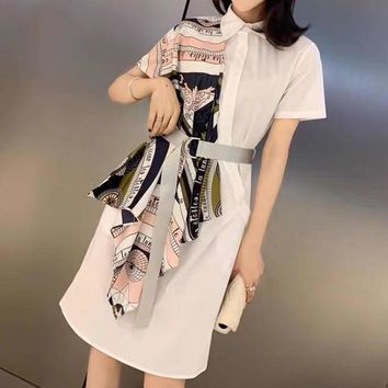 """Dior"" Women Temperament Fashion Multicolor Stitching Short Sleeve Shirt Dress"