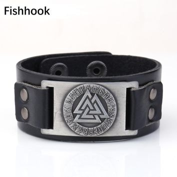 Fishhook Odin 24 Norse Runes Slavic Tailsman Warrior Amulet Ethnic Viking Wristband Cuff Adjustable Vintage Leather Bracelet