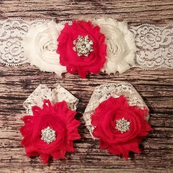 White and Red Shabby with Rhinestone Snowflake on Lace Baby Girl Headband and Barefoot Sandal Set!