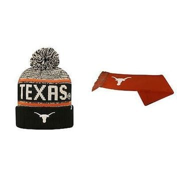 Licensed NCAA Texas Longhorns Acid Rain Beanie Hat And Team Logo Scarf 2 Pack 28428 KO_19_1