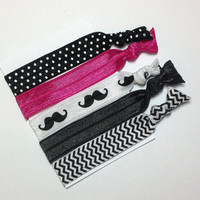 Hair Ties, Ponytail Holders, Elastic Ponytail, FOE Hair Ties, Girls Hair Accessory, Set of 5 Hair Ties