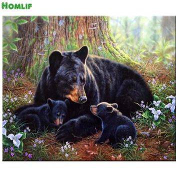 Diamond Painting Animals 5D Diamond Embroidery Bear Hunting Decorative Pictures Of Rhinestones Hobbies & Crafts Home Decor