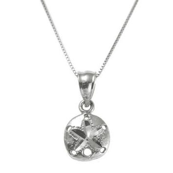 SOLID 14K WHITE GOLD HAWAIIAN DIAMOND CUT SAND DOLLAR CHARM PENDANT SMALL 9MM