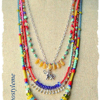 Bohemian Necklace, Boho Colorful Elephant Necklace, bohostyleme, Multi Layered Necklace, Boho Style Me, Kaye Kraus