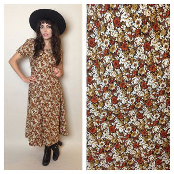 90's FLORAL MIDI DRESS - fall colors - grunge - adjustable back ties - small