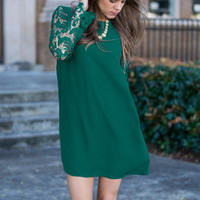 Lace Value Dress, Emerald