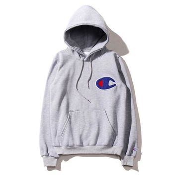 Autumn and winter tide brand new champion large C embroidery cotton pullovers loose fleece men and women hooded sweater coat Gray