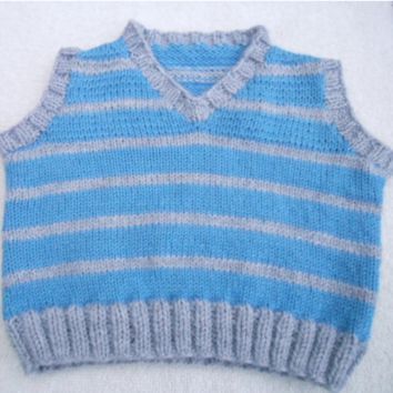 Baby Boy Vest, Infant Vest, 6-18 months, Blue and Gray, Baby Shower Gift, Baby Clothes