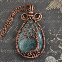 Chrysocolla Tree-Of-Life Pendant Wired Copper Necklace Wire Wrapped Chrysocolla Pendant Chrysocolla Necklace Rustic Unisex Amulet Talisman