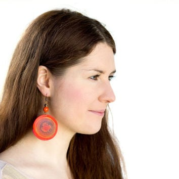 Bohemian orange round earrings. Boho colorful earrings. Polymer clay. Wire wrapped. Geometric earrings