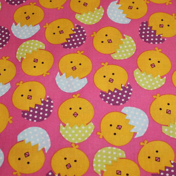 Easter Fabric, Easter Chicks Design, Brother Sister Studio, 1/2 Yard, I combine shipping and I refund shipping overages