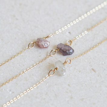 Dainty Stone Necklace/ Minimal Necklace/ Layering Necklace/ Delicate Bead Necklace/ Pink Stone Necklace/ Gift for Her /Bridesmaid Gift