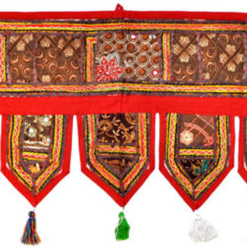"38x14"" Red Decorative Door Valance, Indian wall hanging, toran, door valance, ethnic wall decor, door hanging, tapestry, window valance,"