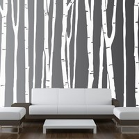 "Large Wall Birch Tree Decal Forest Kids Vinyl Sticker Removable (9 Trees) 84"" (7 Feet) Tall #1109"