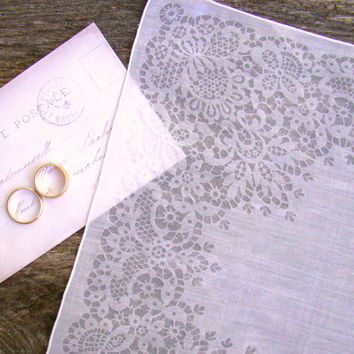White Bride's Handkerchief, Something Old for your Wedding, Bridal Shower Gift, Ornate Pattern