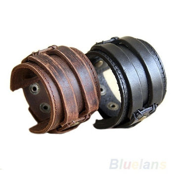 Men's Retro Genuine Leather Buckle Punk Cuff Bangle Wristband Bracelet, wind band, cool, surfer bracelet, tribal style  [7941871879]