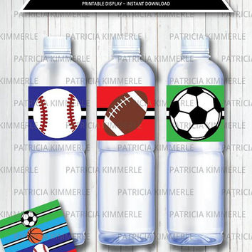 Printable Bottle Labels, Sports Theme, Birthday, Party Decorations, Athletic, All Star, Baby Shower, Coach, Unisex, Kid,  INSTANT DOWNLOAD