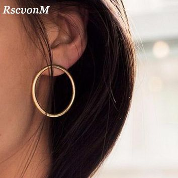 RscvonM New Simple Korean Fashion Aros Big Round Circle Hoop Earrings for Women Geometric Ear Hoops Earing Brincos Jewelry Gift