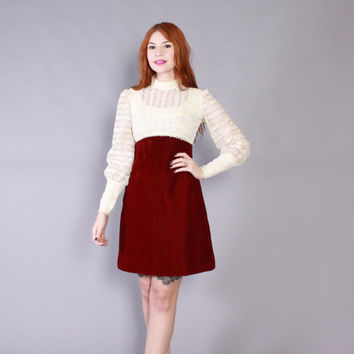 Vintage 60s DRESS / 1960s Ivory Lace & Burgundy Velvet Mod Mini Party Dress