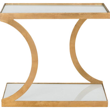 Tate Accent Table, Gold/White Glass, Standard Side Tables