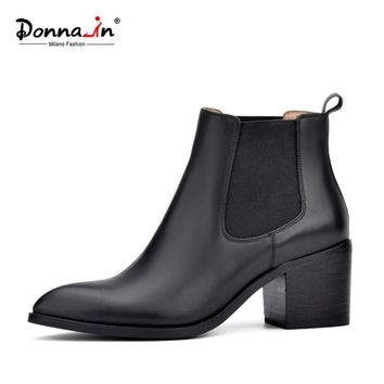 Donna-in 2017 new style genuine leather ankle boots pointed toe thick heel chelsea boots calf leather women boots ladies shoes