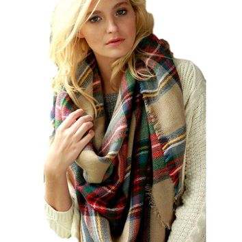 Plaid Square Blanket Scarf, Beige