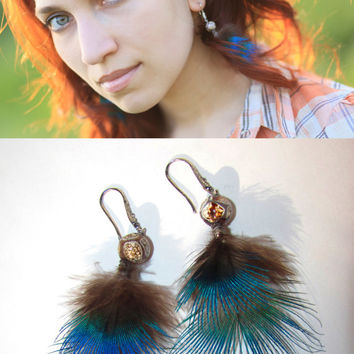 Short peacock Feathers earrings tribal Small real feather Dangle earrings Natural agate beads Elegant jewelry Fantasy everyday gift under 25