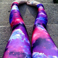 Purple Galaxy Nebula Leggings pants Space geek planet lycra