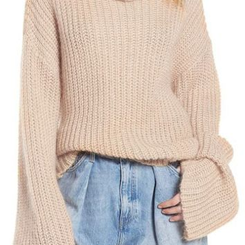 Winter Is Coming Beige Long Bell Sleeve Pattern Turtleneck Crisscross Open Back Pullover Sweater