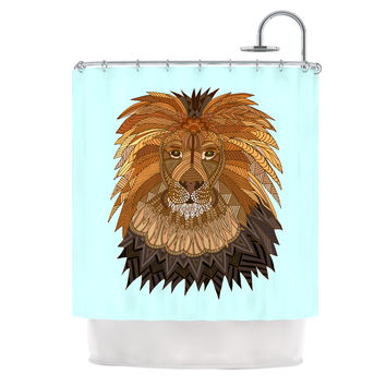 "Art Love Passion ""Lion"" Blue Brown Shower Curtain"