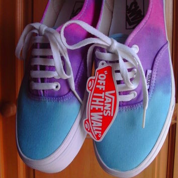 Dip Dye Tie Dye Blue Purple Pink Vans Authentic Trainers Size 6 Customised
