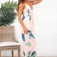 Take The World Floral Jumpsuit (Peach)