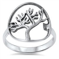 925 Sterling Silver Wiccan Tree 19MM Ring