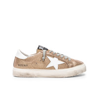 Golden Goose May Sneakers in Gold Crack & White | FWRD