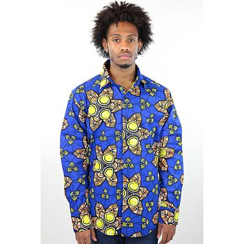 African Print Mens Shirt Button-Up Royal Geometric Floral Print