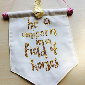 Cute gold glitter unicorn wall banner