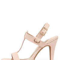 Ballroom Bliss Peach Lizard High Heel Sandals