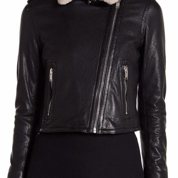 New with Tag - DOMA Leather & Shearling Fur Black Moto Jacket
