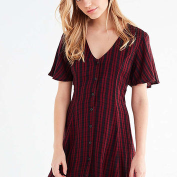 UO Checkered Lace-Up Mini Dress   Urban Outfitters